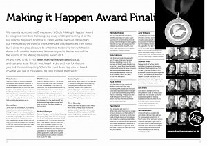 Veronica Pullen featured in Entrepreneurs Circular Making it Happen Awards September 2011