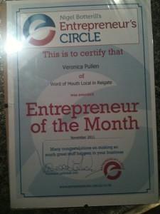 Nigel Botterill's Entrepreneur's Circle - Entrepreneur of the Month for South East Surrey October 2011