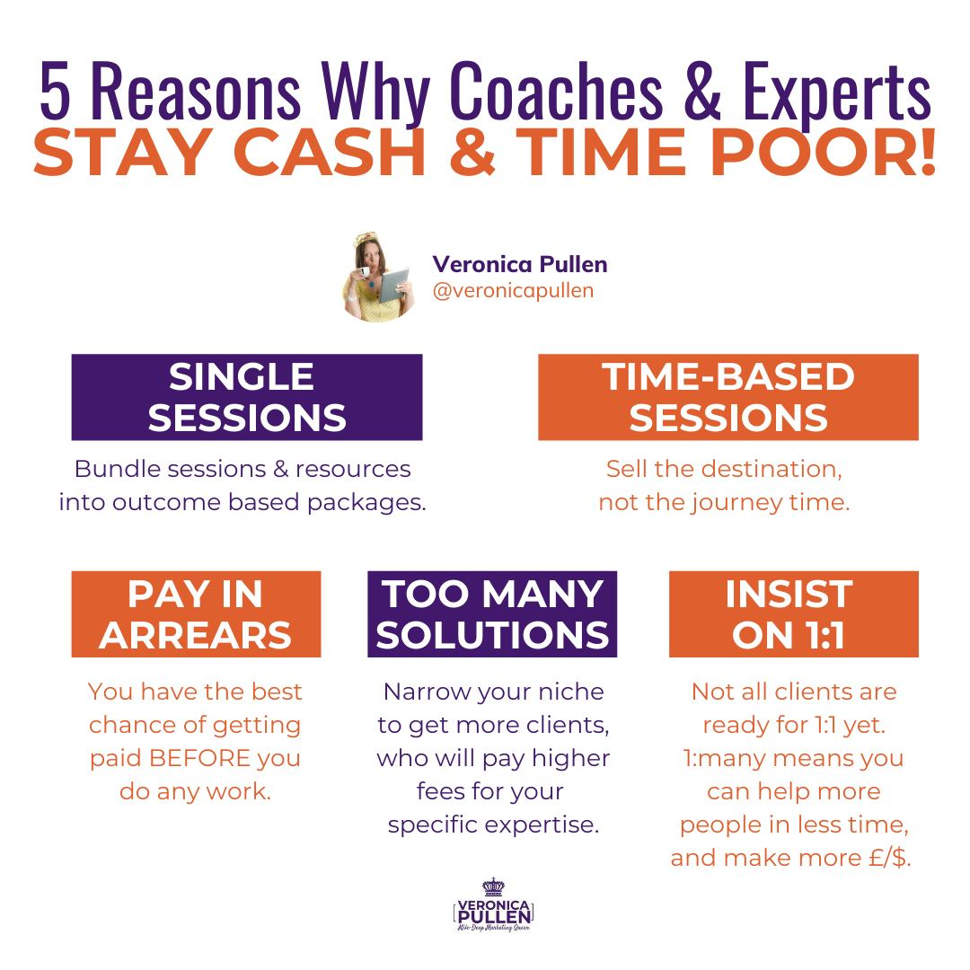 5 Reasons Why Coaches & Experts Stay Time And Cash Poor (& How To Fix It)