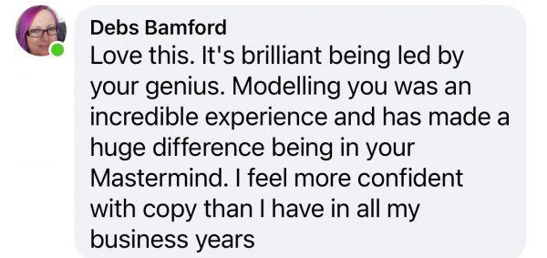 Debs Bamford Comment